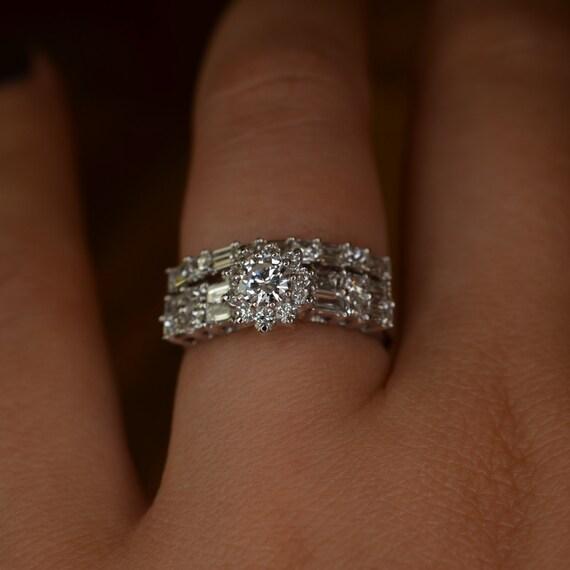 Flower Shaped Diamond Engagement Ring and Wedding by JdotCJewelry