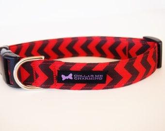 Red and Black Dog Collar Chevron