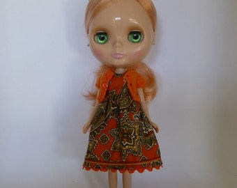 Hand Made Neo Blythe or Bratz Doll Orange Vintage Paisley Print Dress with Ric Rac Trim and Matching Orange Knitted Short Sleeve Cardy