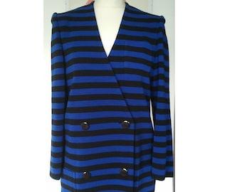 RACINE Paris Vintage jacket over dress blue black stripes 1980 S M