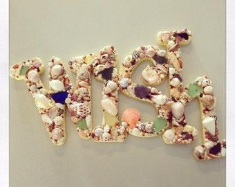 "Shell encrusted letter ""wish"" with all Kauai shells & sea glass"