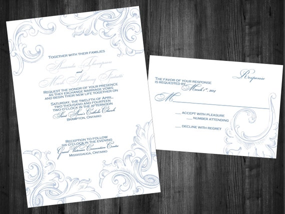 Diy Scroll Wedding Invitations: Items Similar To Printable DIY Acanthus Scroll Invitation