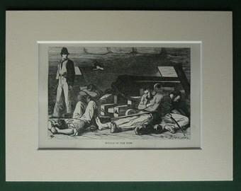 1869 Antique Print Of The Battle Of The Nile  - Black & White Engraving - British Navy - Nautical Print - Maritime Print - Sailing Ship
