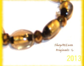 Crystal Embellished Lampwork Glass Beaded Bracelet