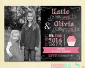 Joint Birthday Chalkboard Invitation - Twins Birthday - Sisters Dual Invitation- same or different age - Pink Cupcake - Custom Photo Invite
