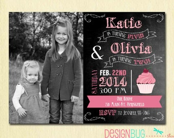 Custom invitations holiday cards and more by designbugstudio joint birthday chalkboard invitation twins birthday sisters dual invitation same or different age stopboris Images