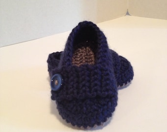 Crochet Baby Booties, Loafers, 0-3 Months