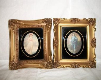 Vintage Pinkie and Blue Boy Framed Pictures Ornate Victorian Style Home Decor