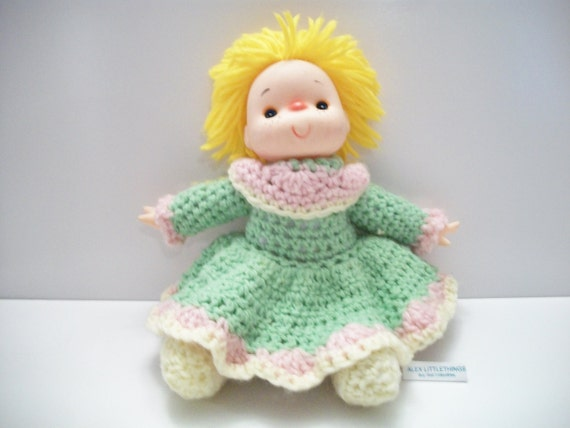 Crochet Hair Doll : Vintage Crochet Doll with Yarn Hair Retro Toy by ALEXLITTLETHINGS