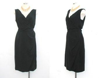 50s to 60s Dress Rayon LEE CLAIRE Vintage Black Party Sheath S to M Free Domestic and Discounted International Shipping