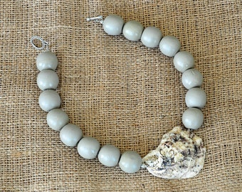 """Handmade Oyster Shell Bead Necklace """"The Wilmington"""""""