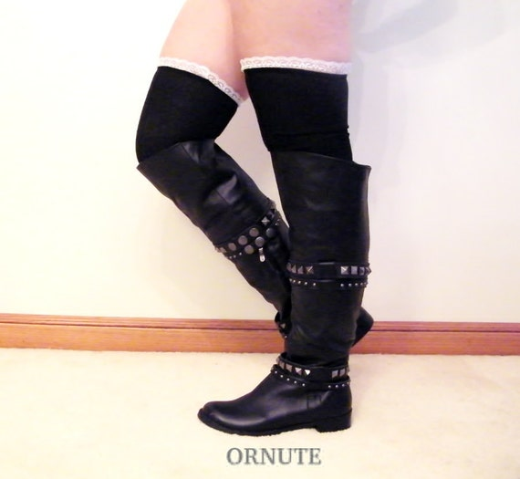 black thigh high socks lace boot socks s by ornute