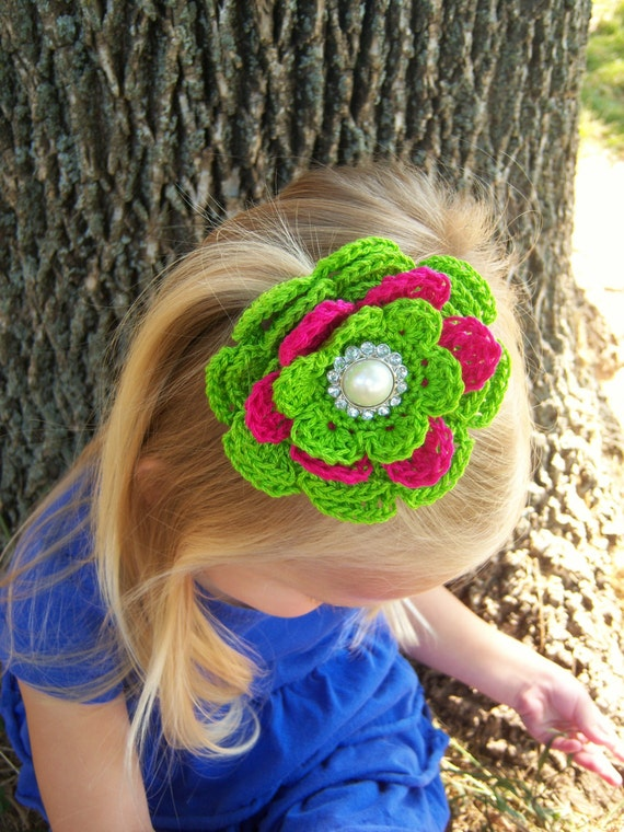 Crochet Hair Kit : Interchangeable Crochet Flower Hair Bows/Starter Kit