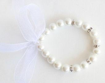 White flower girl bracelet, childrens bracelet, pearl bracelet, wedding bracelet, white organza ribbon, rondelles, little pearl bracelet