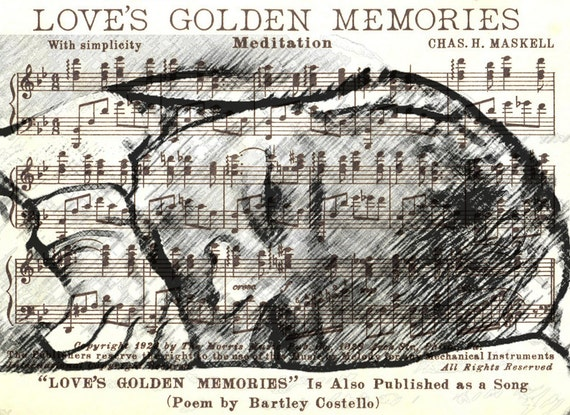 Custom Art DIGITAL FILE, Printable, YOUR Photo, Love's Golden Memories Vintage Music Notes Page Collage, Family Anniversary Love Gift