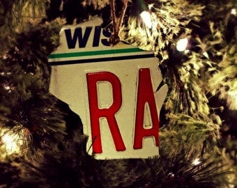 """Upcycled Wisconsin License Plate """"State of Wisconsin"""" Ornament"""