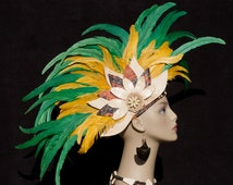 Tahitian And Rarotongan Headpiece...Authentic Tapa Cloth With Rooster Tail Feathers Headpiece.
