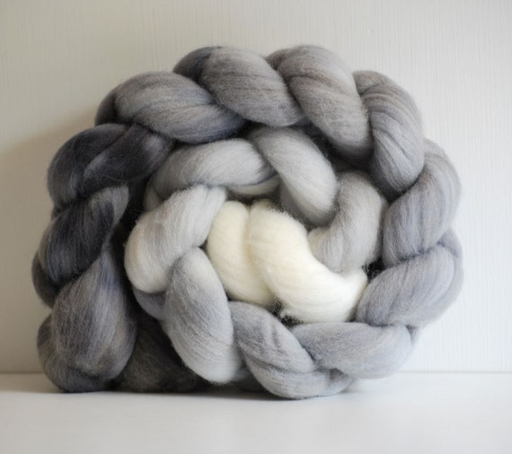 Hand painted Merino combed wool top - 4 oz. braid - Grey Gradient