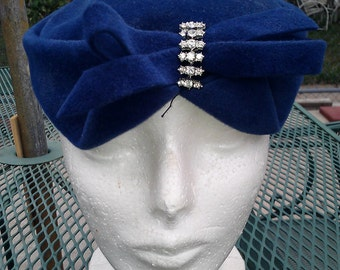 Vintage Genuine Velour Royal Blue Hat