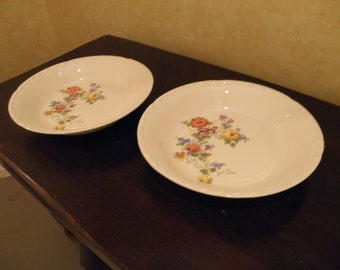 Pair of Crooksville China Soup Bowls