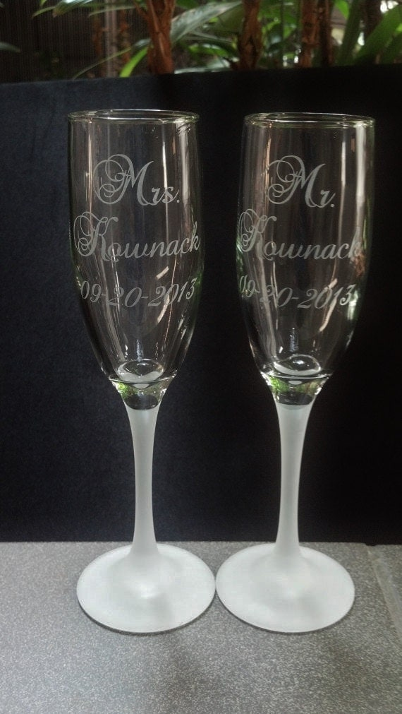 custom etched champagne flutes toasting glasses with frosted bases