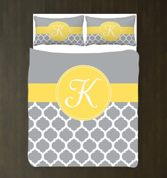Gray And Yellow Daybed Bedding : Yellow grey and white quatrefoil duvet bedding