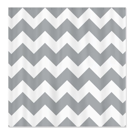 Curtains Ideas chevron curtains grey : Grey and White Wide Chevron Striped Custom Shower Curtain OR