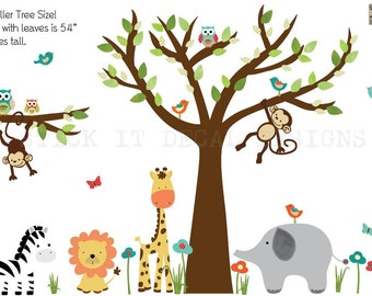 Jungle Decals, Jungle Wall Decals, Nursery Wall Decal, Giraffe, Elephant,  Primary