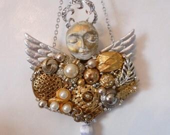 Guardian Angel Gift,  Vintage Jewelry Assemblage, mixed media original, altered art, altered art angel, ooak angel