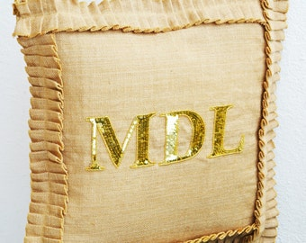 Monogram Burlap pillow with ruffles-  Decorative cushion cover in burlap - throw pillow cover 20X20 inches -Personalized gift -Sequin pillo