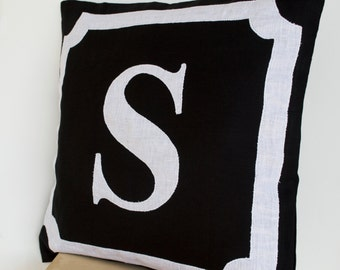 Decorative Pillows, Personalize Gift, Linen Throw Pillow Cover, Monogram Pillow, Initial Pillow, Housewarming Gift, Linen Anniversary, 18x18