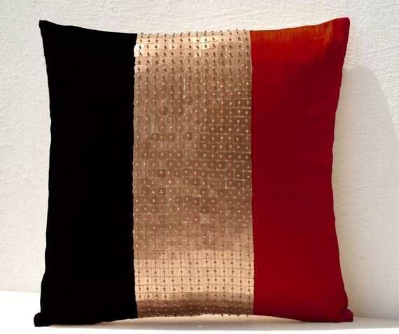Throw Pillows Red Black Gold Color Block Silk Beads Cushion