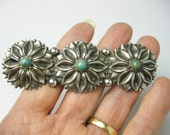 Held for Bella... Large Vintage 1930s Sterling & Turquoise Brooch/ Pin, Mexico, Handmade.