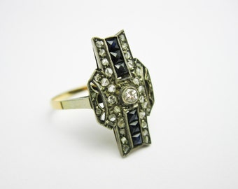 French Antique Ring,  Diamonds & Sapphires, Genuine Gems, 1905, Set in 2 Tone 18k Gold and Platinum, Edwardian.