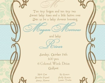 Elegant baby shower invitation for a boy or a girl.  Would be beautiful for a baptism/christening