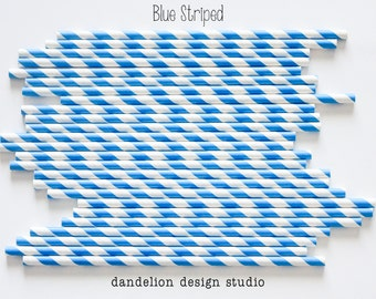 Buy 2, Get 1 FREE!!!    BLUE Striped Paper Straws - Pack of 25 - Dandelion Design Studio