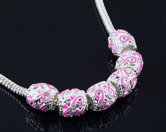 10pcs Silver Pink Ribbon Beads Breast Cancer Awareness Charms Fit European Bracelets