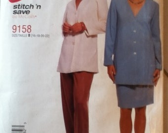 "McCalls Easy Jacket, Pants & Skirt Pattern 9158 Size: 16-22, Bust 38""-44"", Waist 30""-37"", Hip 40""-46"""
