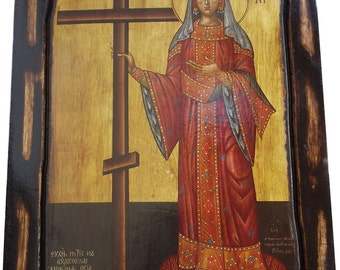 Saint St. Helen - Orthodox Byzantine icon on wood handmade (22.5 cm x 17 cm)