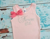 Flowergirl tank top Size 2T - 12 shirt White with bow Junior Bridesmaid