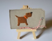 Dog Gift Tag - Scrapbooking Embellishment - Cardmaking Embellishment - Wool Felt and Fabric - Hand Sewn