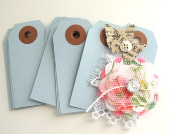 """25 Small Light Blue Parcel Tags 2 3/4"""" x 1 3/8"""" Gift Tags"""