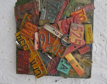 """18"""" Wall Art Antique Ceiling Tiles & Vintage Relics Made From Old License Plates"""