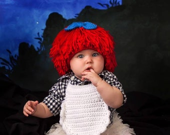 Crochet Wig Pattern with Small Bow Pattern. Newborn - Adult sizes