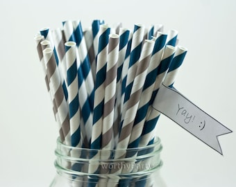 NAVY and GRAY Spiraled Striped Party Paper Straws with Free Printable DIY Flags (50 count)