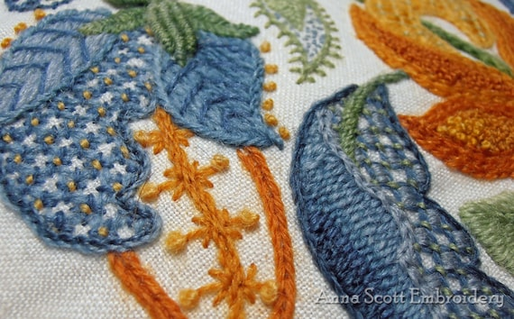 Crewel Embroidery Kit Jacobean Leaves From