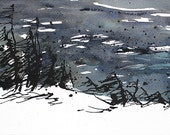 Ink Painting, Horizontal and Vertical, Newfoundland Art, landscape print