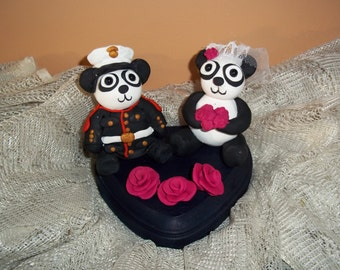 Custom Animal Wedding Cake Topper/ Panda Cake Topper/ Polymer Clay Topper /Can be personalized/Military Wedding