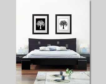 8x10 Contemporary Wall Art - Set of 2 - Modern Tree's - Branches - Black and White - Woodland Print