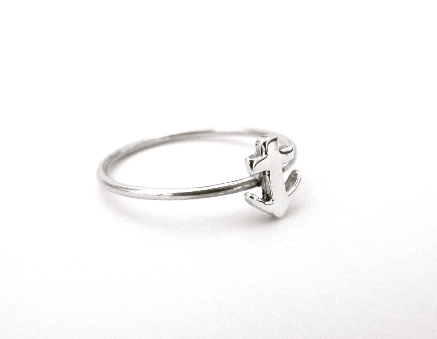 anchor ring nautical sterling silver ring